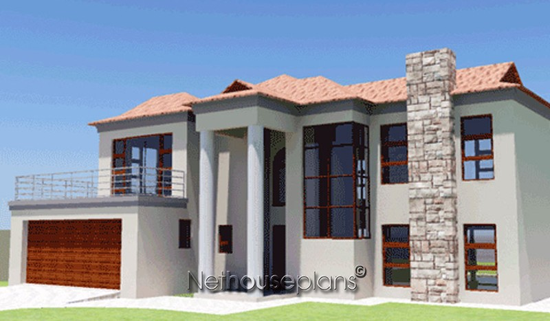 BA250D elevyes 800x467 modern bali house plan with 3 bedrooms nethouseplansnethouseplans,Four Bedroom Double Storey House Plan