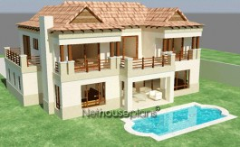 Bali design style house plan, 3 bedroom, double storey floor plans