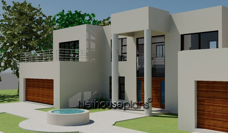 4 Bed Room Modern Style House Plan