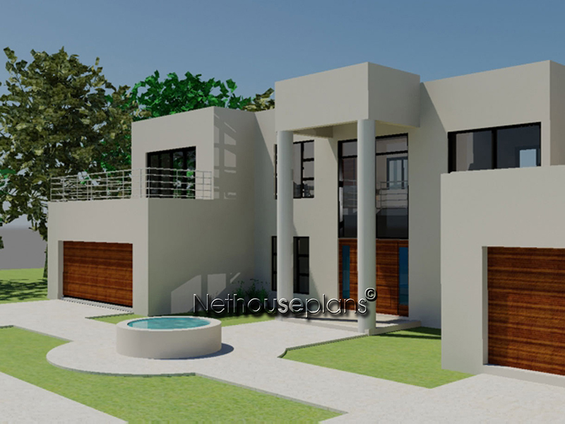 4 bed room modern style house plan for Home designs sa