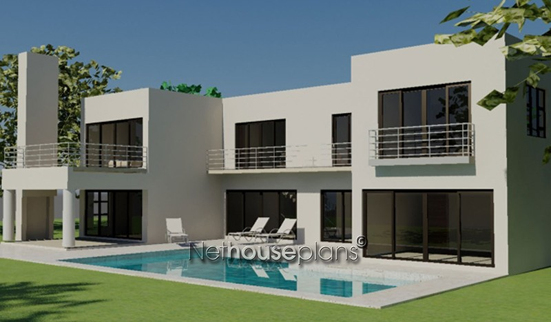 Modern style house plan, 4 bedroom, double storey floor plans