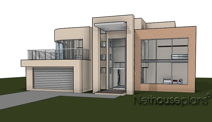 Modern contemporary style, 4 bedroom house plan, double storey floor plans.