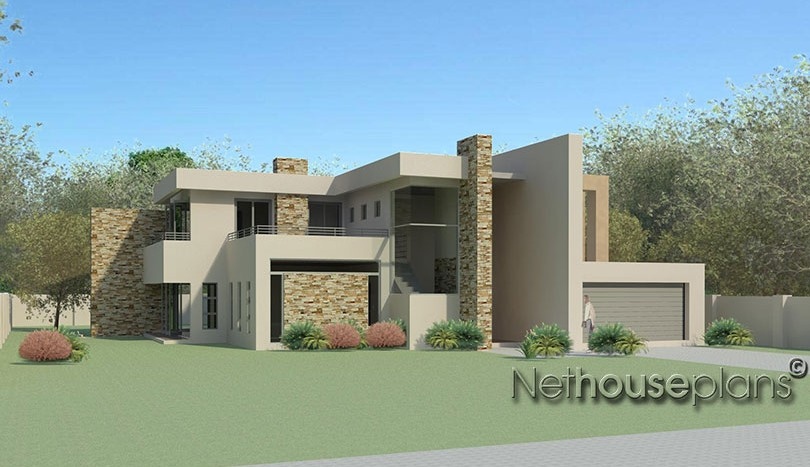 4 bedroom modern style house plan m474d for Modern south african home designs