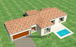 Modern tuscan style house plan, 3 bedroom , single storey