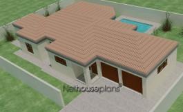 Tuscan style, 3 bedroom house plan, single storey floor plans - NETHOUSEPLANS
