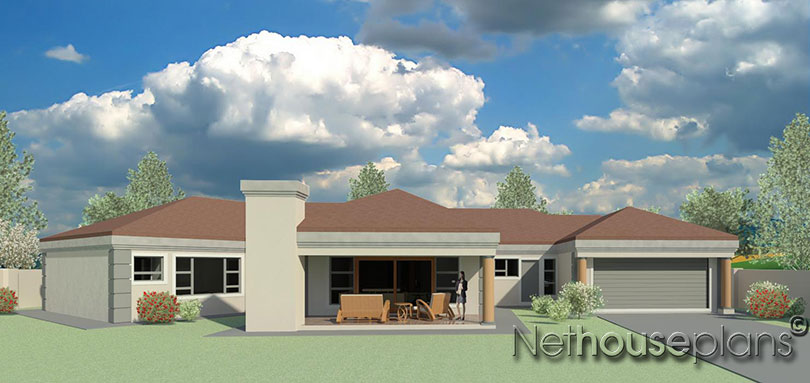 T351 nethouseplans for Single story 4 bedroom modern house plans