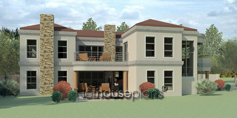 Modern tuscan style house plan, 4 bedroom , double storey floor plans