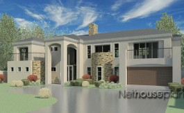 Modern tuscan style house plan, 3 bedroom, double storey floor plans, architecture home design