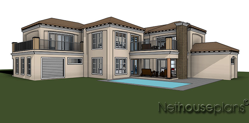 3 bedroom house plan t433d nethouseplans for Seven bedroom house plans