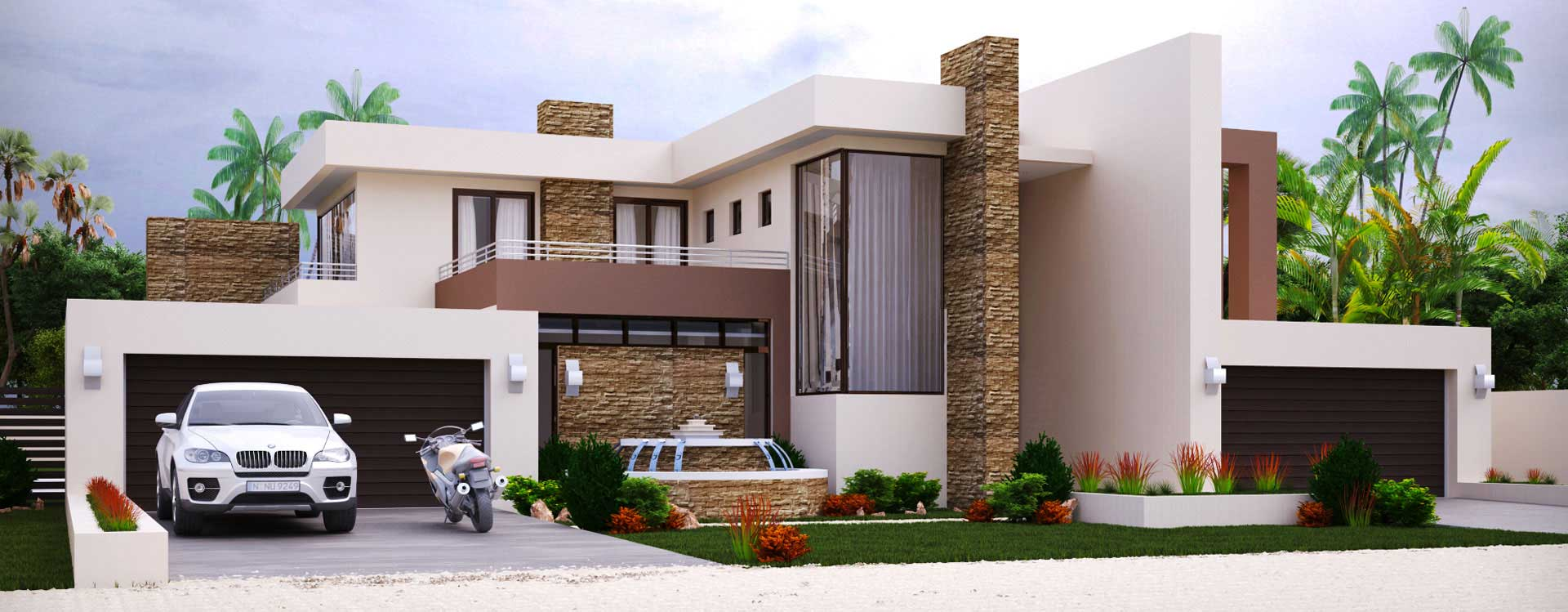 Modern home design with 4 bedrooms house plans for Modern house plans 2015