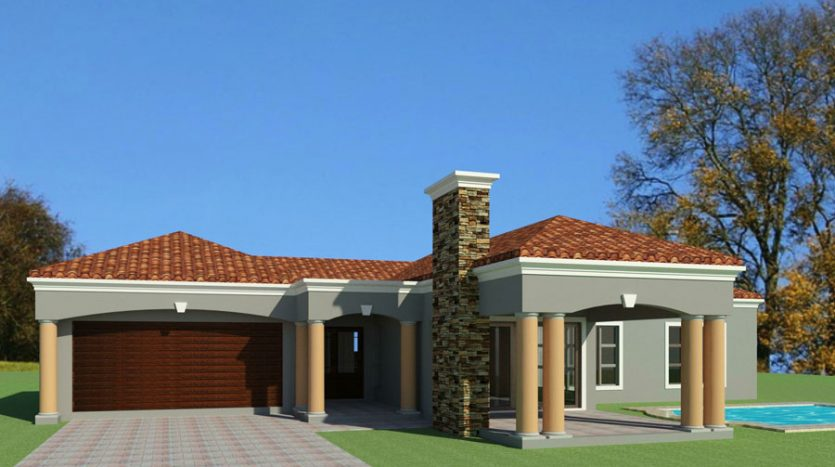 3 bedroom house plan design in South Africa, single storey house plan design, Tuscan building plan, Tuscan architecture design, three bedroom single storey house plan, House Plans South Africa Nethouseplans